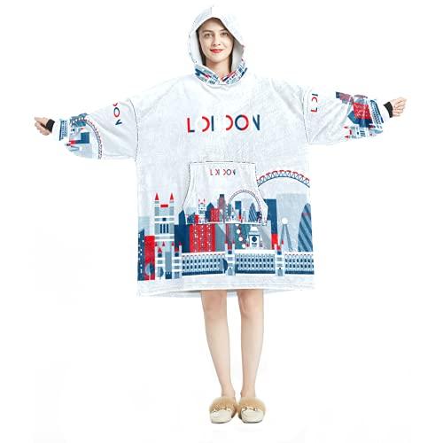 Decke Hoodie, lässiger weicher Mikrofaser Hausmantel warmes Nachthemd für Männer Frauen mit Vintage London UK Britische Flagge Bus Designs