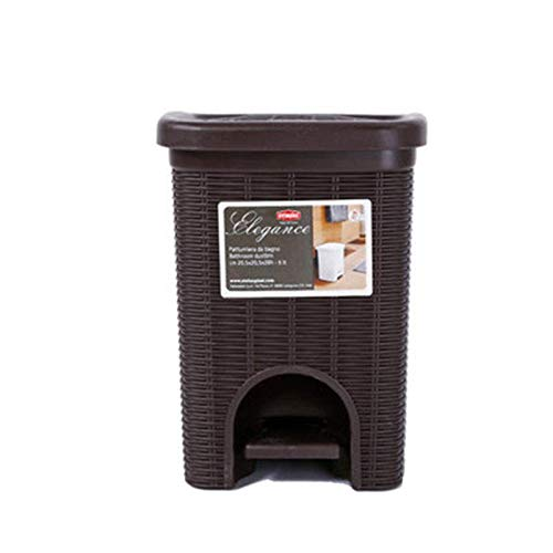 FF&XX Grande Plástico Cesto De Residuos,Papelera con Miembro con Tapa En Escritorio Lata De Reciclaje 6 litros 1.6 Galones Paso-en Papeleras para Cocina Salón-Negro 28x20cm(11x8inch)