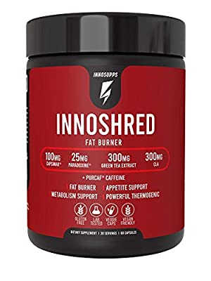 Inno Shred - Day Time Burner | 100mg Capsimax, Grains of Paradise, Organic Caffeine, Green Tea Extract (60 Veggie Capsules) | (with Stimulant)