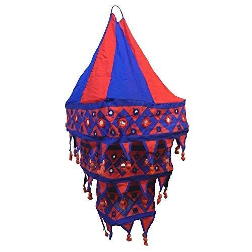 Abat-jour bleu et rouge lanterne carrée patchwork en coton éclairage luminaire lampe tissu décoration intérieure