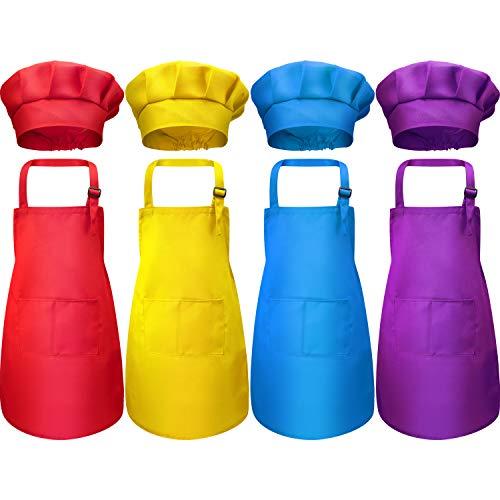 8 Piezas Delantal para Niños y Conjunto de Gorro de Cocinero Delantales Ajustables de Algodón para Niños con 2 Bolsillos Delantal de Cocina para Cocinar Cocinar Ropa (Color 3, Pequeño)