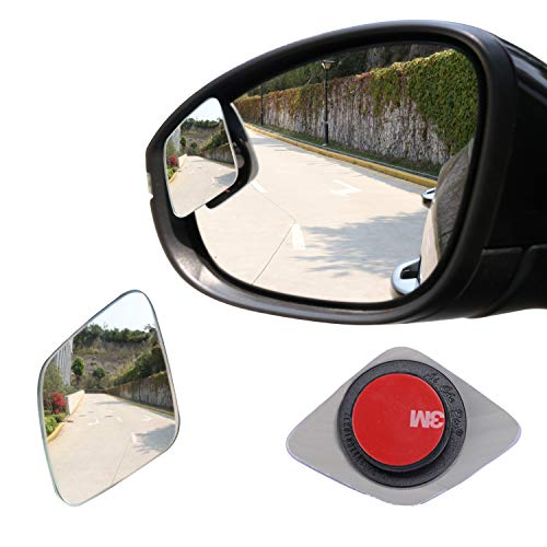 LivTee Blind Spot Mirror,Rhombus Shaped HD Glass Frameless Convex Rear View Mirror with wide angle Adjustable Stick for Cars SUV and Trucks, Pack of 2