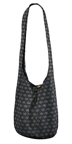 CCcollections SLING Bag COTTON 40 PRINTs Männer oder Frauen CROSSBODY Tasche LARGE BOHO Hippie Hobo Handtasche (STAR Black)