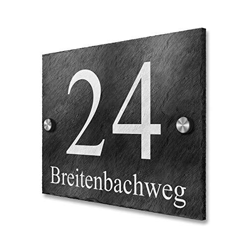 Metzler Hausnummer-Schild Natur-Schiefer rustikal