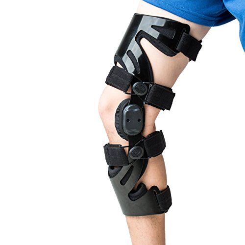 Orthomen Functional Knee Brace - for ACL/MCL/PCL/Meniscus/Ligament/Sports Injuries, Adjustable Hinged ROM Orthopedic Knee Orthosis for Men & Women (Left-M)
