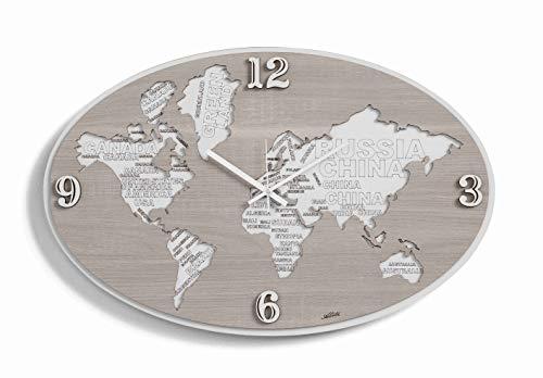 MAZZOLA LUCE Orologio da Parete Planisfero Mappa del Mondo Cartina geografica continenti Legno Incisione Laser Moderno Made in Italy