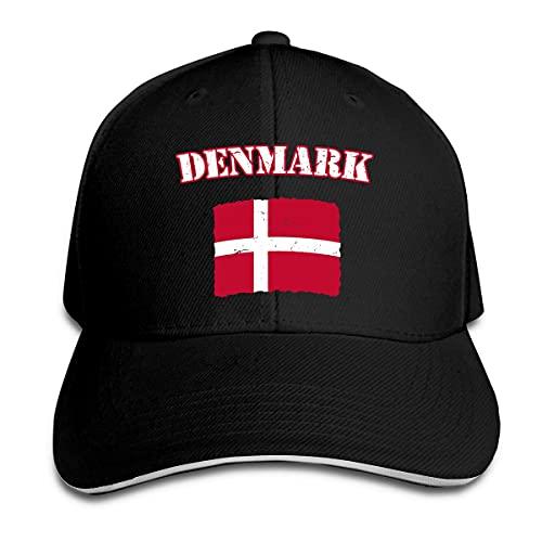 XCNGG Vintage Dinamarca Dinamarca Bandera Danesa Gorra Unisex Hebilla Mágica Ajustable Sombreros Sándwich Deportes Al Aire Libre Negro