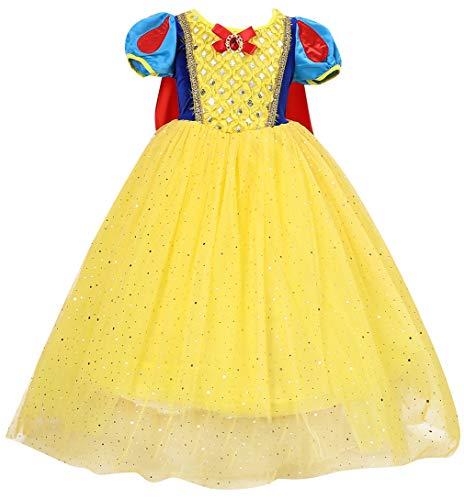 Le SSara Nias Princesa Nieve Traje Blanco Disfraces Hadas disfrazarse Vestido de Cosplay con Cabo (110, E70-yellow)