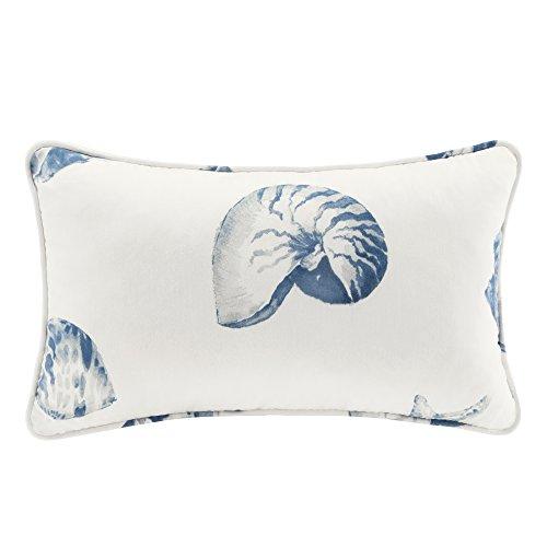 Harbor House Modern Design Decorative Pillow Hypoallergenic Sofa Cushion Lumbar, Back Support, 12u0022x20u0022, Beach House, Cotton Coastal Blue Oblong