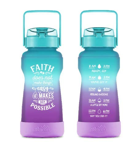 Half Gallon Water Bottle with with Time Markings & Straw, Big BPA Free 77 Oz / 2.2L Motivational Jug , Large Botellas Para Agua for Fitness Drinking for Adults and Teens (Green & Purple) by Phoetya