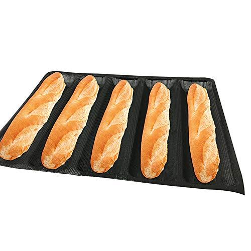 Baguette Bandeja para hornear, molde para hornear pan de palito francés, molde de silicona antiadherente, bandeja reutilizable para hornear de baguettes – para 5 Baguettes Tamaño libre As Picture Show