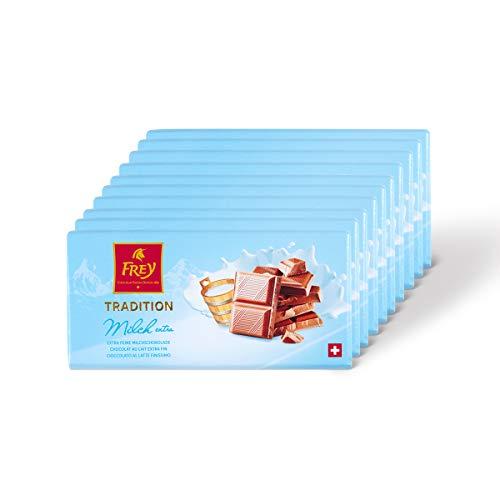 Frey 10x Extra feine Milchschokolade - Original Schweizer Milch Schokolade Tafel - Großpackung 10x Schokoladentafeln 100 g - UTZ-zertifiziert - Premium