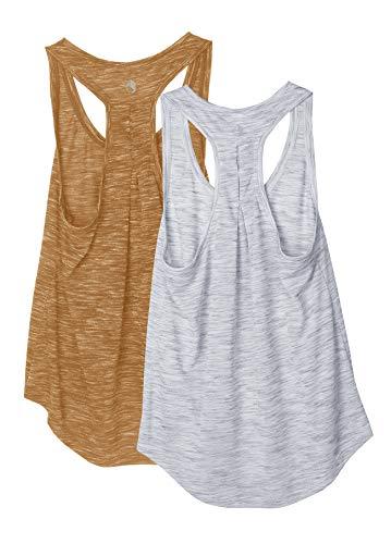 icyzone Camiseta sin Mangas de Yoga Deportiva para Mujer Chaleco Deportivo, Pack de 2 -M-Gris Claro/Amarillo terroso