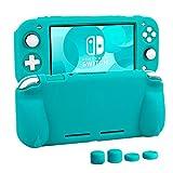 switch liteカバー 任天堂 スイッチライト ケース Nintendo シリコン素材 ソフトカバー 柔らかい 一体式 全面保護 耐衝撃 特殊ハンドル 薄型軽量 快適な手触り 着脱簡単 防水防塵 スタンド機能 スティックカバー4つ付き (ターコイズ)
