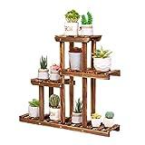 unho 4 Tier Succulent Stand Plant Shelf Wooden Rack Holder Display Small Flower Pots Plants Herbs Home Garden Indoor Decors