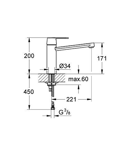 Grohe – Get Spültischbatterie, mittelhoher Auslauf, schwenkbar, Chrom - 2