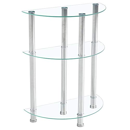 3-Layer Step End Table Tempered Glass Stainless Steel Tube for Living Room (Transparent Semicircular)