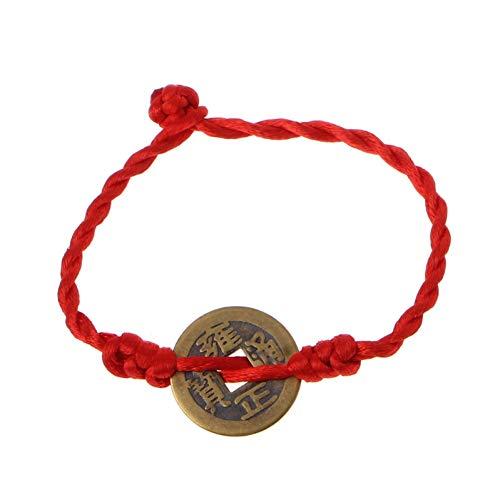 DMUEZW Feng Shui Wealth Luck Coin Pendiente de Cobre Ajustable Rojo Cadena Pulsera Joyas