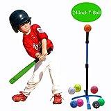 Macro Giant 24インチ 発泡野球バット&ボール(Tボール)セット、子供のための1つのグリーン野球用バットと8つの野球、盛り合わせ色、ジュニアバッティングトレーニング、初心者、学校の遊び場、トレーニングと練習