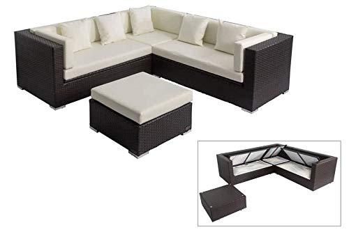 OUTFLEXX Loungemöbel-Set, braun, Polyrattan, 6 Personen, wasserfeste Kissenbox