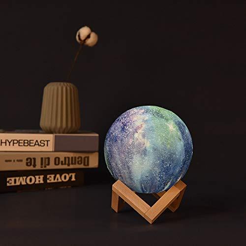 HUANLEGOU Wohnaccessoires Kreative Statuen Bunte Mondlichter Kindergeschenke Kreative Tischlampe Gemalt Led Sternenhimmel 3D Mond Nachtlicht, Touch, 15Cm