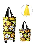 Collapsible Trolley Bags Folding Shopping Bag with Wheels Reusable Grocery Bags Fashion Rolling Shopper Tote - lightweight Capability with Durability, Heavy Duty Beefy Wheels (Coffee + Flowers)