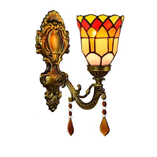 AIBOTY Tiffany-Art-Kristall Anhänger Wandleuchte 4 Zoll Pastoral Mini Buntglas-Kunst Schatten Vintage antike Wandleuchte für Schlafzimmer Wohnzimmer Geschenk