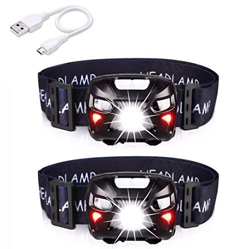 APUNOL 2Packs Head Torch, Rechargeable Waterproof Headlamp LED Headlight...