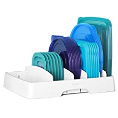 """Holds round and square container lids up to 9"""" Includes 5 long adjustable dividers Fits in cabinet or drawer with handles for access Easy-to-clean, BPA-free plastic provides safe storage One minute set-up, no tools required Included Components: Adjus..."""