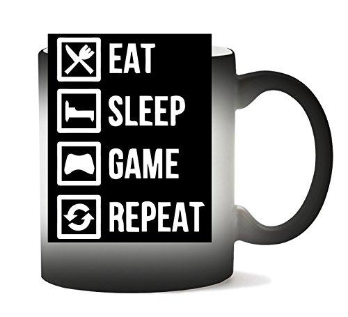 MugWorld Eat Sleep Game Repeat Gamming Tasse Hitze Farbwechsel