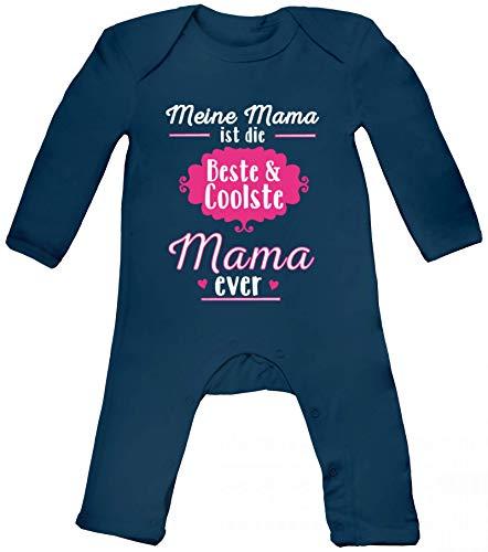 Lustige Geschenkidee Muttertag Baby Strampler Langarm Schlafanzug Jungen Mädchen Beste und Coolste Mama Ever, Größe: 12-18 Monate,Nautical Navy