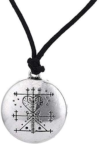 YZXYZH Collar Talismán De Dinero, Amuleto De Riqueza, Joyería, Chapado En Plata Tibetana, Maman Brigitte Voodoo Loa Veve, Colgante, Collar Masculino