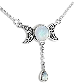0.925 Sterling Silver Sun Moon and Stars w// Rainbow Moonstone Pendant Necklace