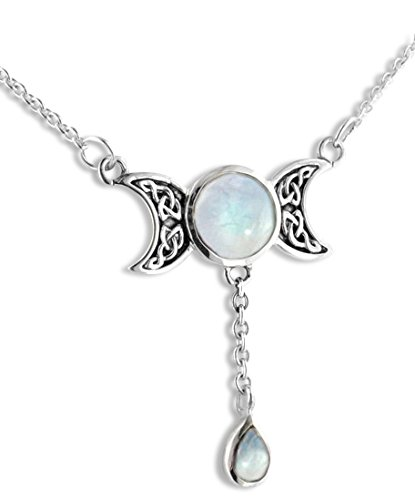 Sterling Silver Celtic Knot Triple Moon Phases Genuine Rainbow Moonstone 17' Necklace