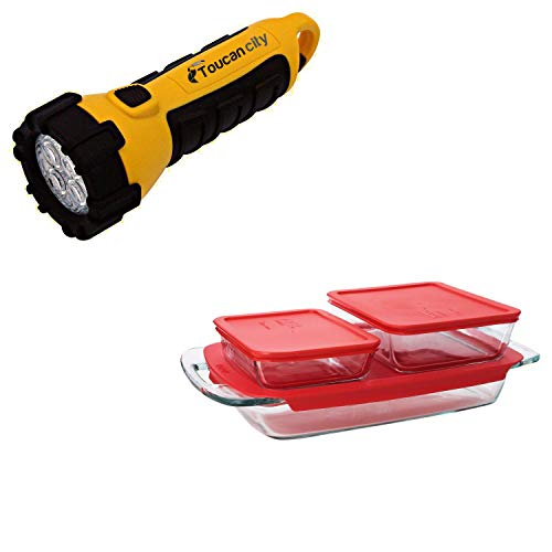 Toucan City LED Flashlight and Pyrex Bake N Store 6-Piece Glass Bakeware and Storage Set with Red Lids 1090993