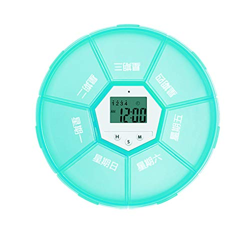 Yihaifu Weekly Pill Organizer Digital Timer 7 Grid Pill Box Alarm Clock Reminder Tablet Dispenser Case