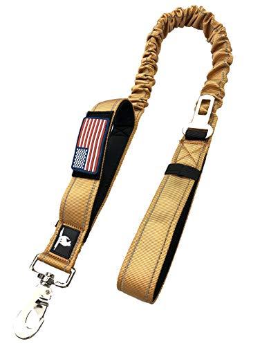 Taktische Hundeleine K9, 3,8 cm breit, für XL Hunde, strapazierfähiges Nylon, elastisch, dehnbar, stoßdämpfend, Militär-Hunde mit abnehmbarer Amerika-Flagge, 36