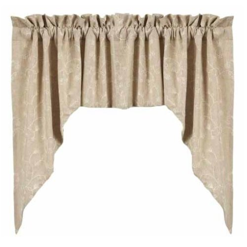 Home collection by Raghu 2-Piece Candlewicking Swag, 72 by 36-Inch, Taupe