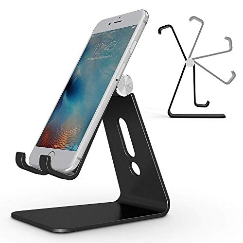 Adjustable Cell Phone Stand, OMOTON Aluminum Desktop Cellphone Stand with Anti-Slip Base and Convenient Charging Port, Fits All Smart Phones, Black
