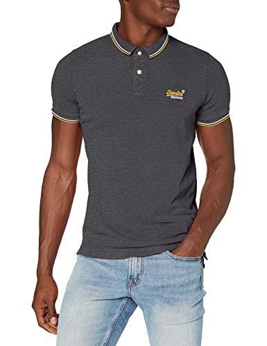 Superdry Mens Pique Polo Shirt, Black Grey Marl, Large
