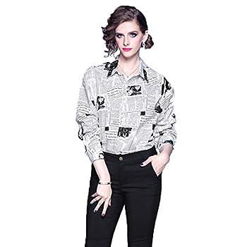 Lanvendia Women s Loose Lapel Shirts Plus Size Newspaper Print Tops and Blouses