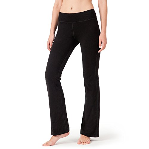 NAVISKIN Damen Yoga -und Jogginghose Bootcut mit Taschen schwarz(Lang) Größe S
