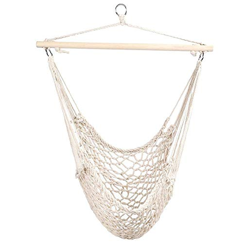 ENDJYO Swing Hanging Chair, Hammock Chair with Handmade Knitted Cotton Rope Net Cradles Kids Adults Swing Chairs Tassels for Indoor/Outdoor Patio