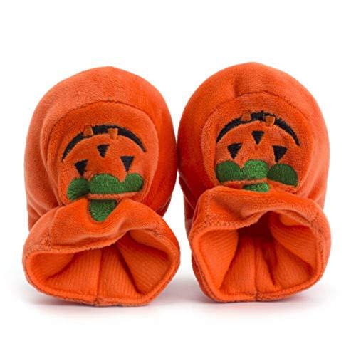 N / D Neonato Zucca Suola Morbida Costume di Halloween Suole Morbide Scarpe da Culla Neonato per Neonate Ragazzi Bambini (Orange, 12-18 Months)