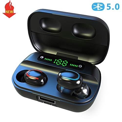 Auriculares Bluetooth, ENACFIRE Future. Auriculares Inalámbricos-Bluetooth5.0. 18H autonomía, Sonido Estéreo con Graves Profundos 15-20m Bluetooth Range, Estuche de Carga Elegante