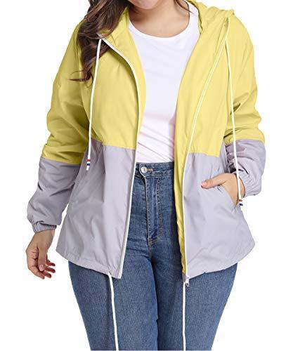 Regenjacke, Damen, Übergröße, verstellbare Kapuze, wasserdicht, lange Ärmel, Sportjacke, windabweisend, schnelltrocknend, UK-HPLUS02, Gelb, UK-HPLUS02 4X-Large