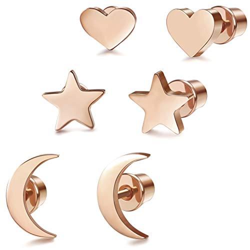 Milacolato 3 Pairs Surgical Steel Stud Earrings for Women Girls Heart Star Moon Stud Cartilage Helix Earrings Rose gold
