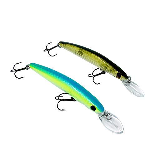 Wobbler für Zander + Barsch, tieflaufend, 2 Stück, TROMMLER 9,5cm | 9,5g | Olive-matt + neon-grün
