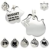 Stainless Steel Cat ID Tags - Engraved Personalized Cat Tags Includes up to 4 Lines of Text with Mouse Shape