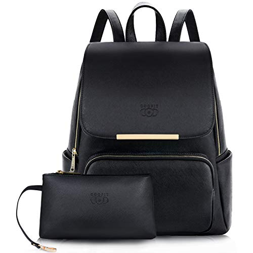 Women Backpack,COOFIT Womans Black Leather Backpack for Girls Schoolbag Casual Daypack School Backpacks Bag Satchel Black (Upgrade Design Black)